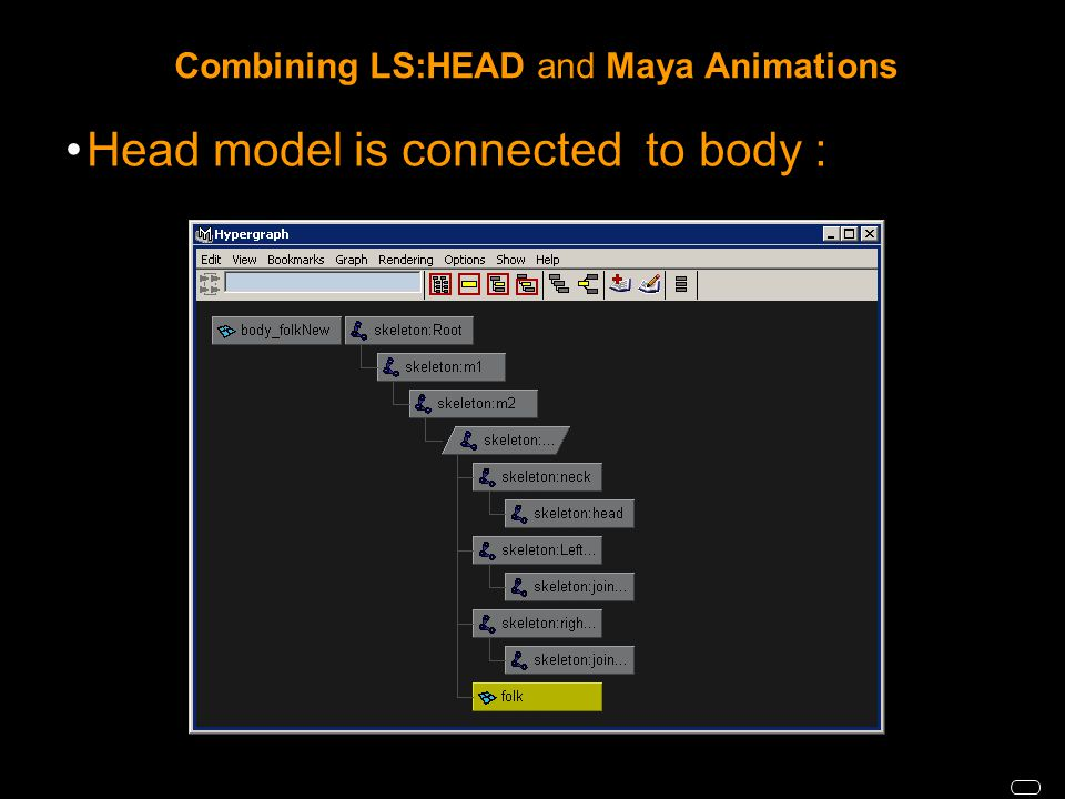 Combining LS:HEAD and Maya Animations Head model is connected to body :