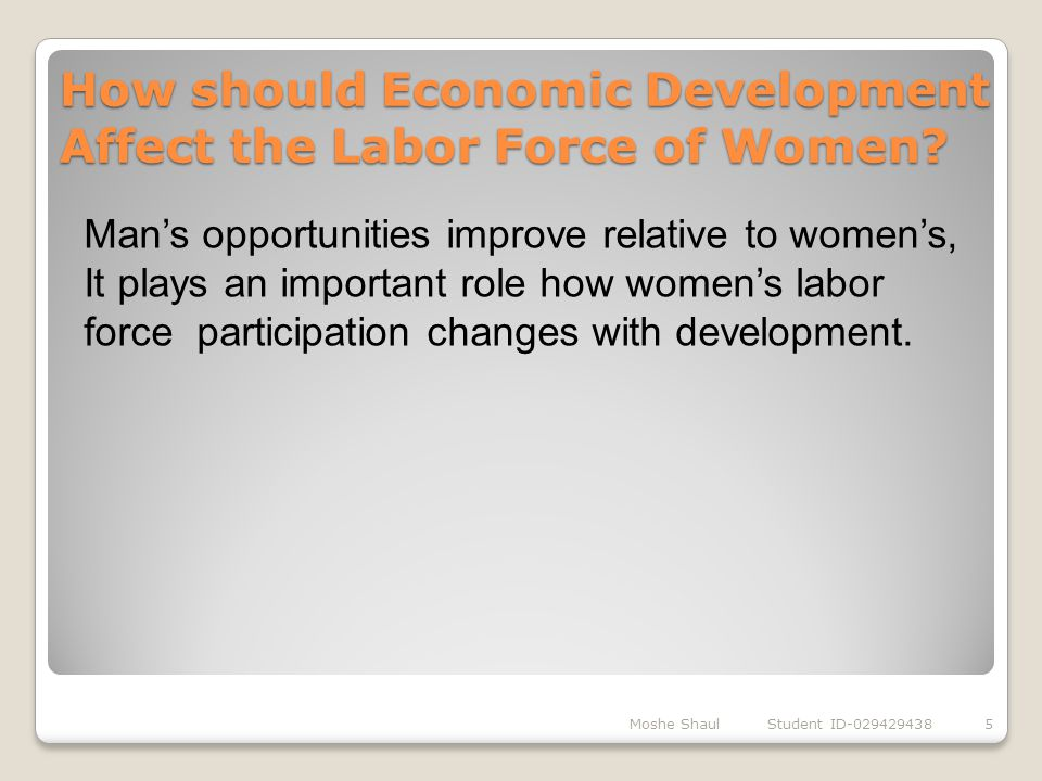 How should Economic Development Affect the Labor Force of Women? Moshe Shaul Student ID-0294294385 Man's opportunities improve relative to women's, It