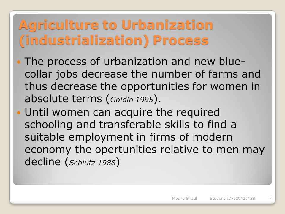 Agriculture to Urbanization (industrialization) Process Moshe Shaul Student ID-0294294387 The process of urbanization and new blue- collar jobs decrea