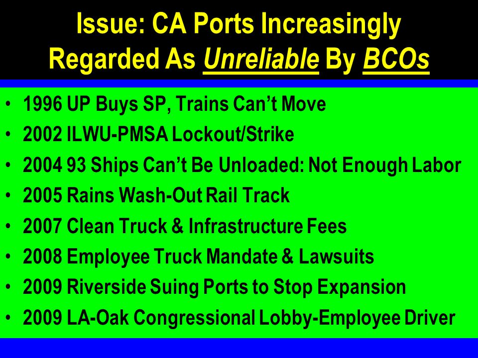 Issue: CA Ports Increasingly Regarded As Unreliable By BCOs 1996 UP Buys SP, Trains Can't Move 2002 ILWU-PMSA Lockout/Strike 2004 93 Ships Can't Be Unloaded: Not Enough Labor 2005 Rains Wash-Out Rail Track 2007 Clean Truck & Infrastructure Fees 2008 Employee Truck Mandate & Lawsuits 2009 Riverside Suing Ports to Stop Expansion 2009 LA-Oak Congressional Lobby-Employee Driver