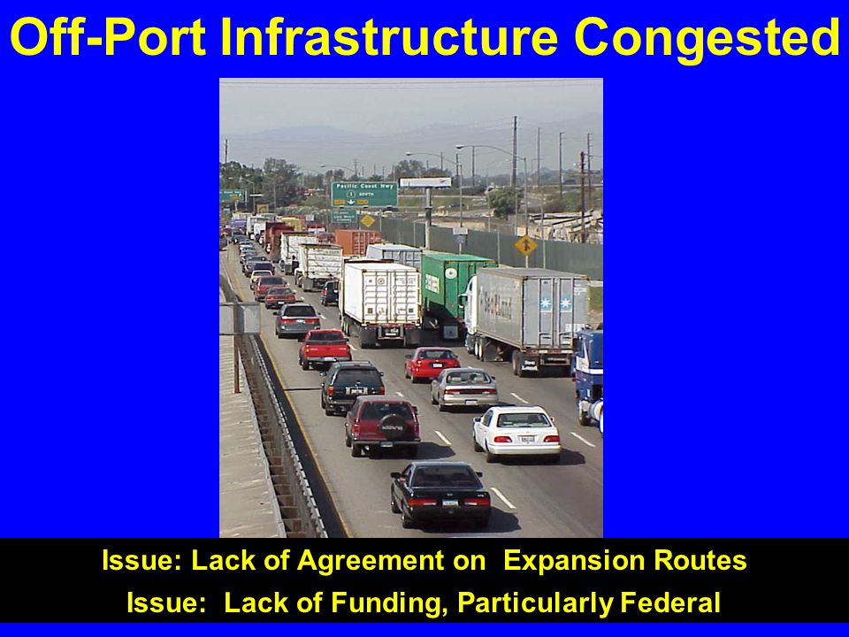 Off-Port Infrastructure Congested Issue: Lack of Agreement on Expansion Routes Issue: Lack of Funding, Particularly Federal