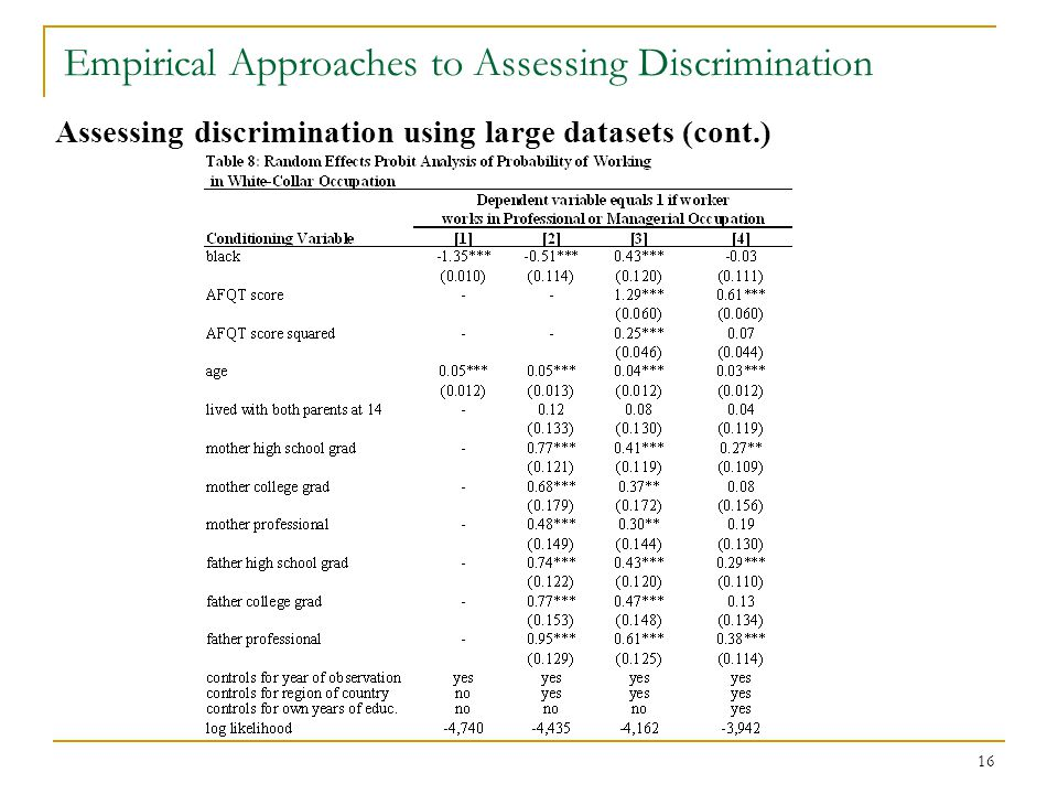 16 Empirical Approaches to Assessing Discrimination Assessing discrimination using large datasets (cont.)