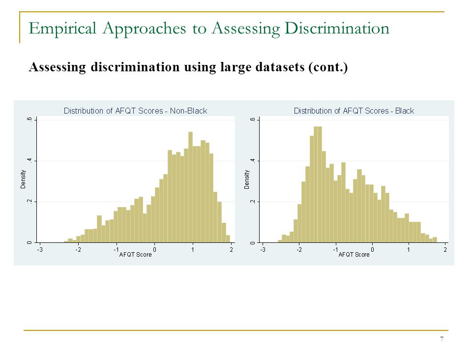 8 Empirical Approaches to Assessing Discrimination Assessing discrimination using large datasets (cont.)