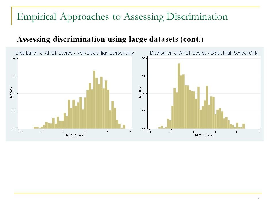 19 Empirical Approaches to Assessing Discrimination Assessing discrimination using large datasets (cont.) In general, this work suggests that the fundamental nature of racial wage inequality might differ across job sectors.