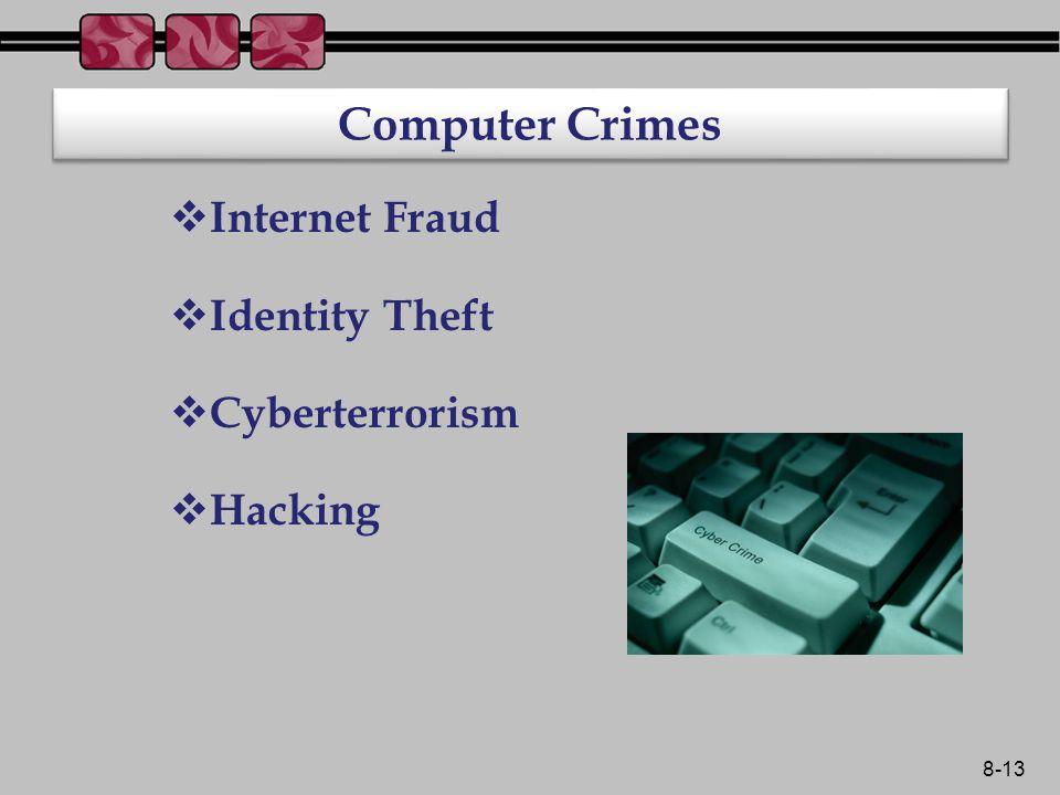 8-13 Computer Crimes  Internet Fraud  Identity Theft  Cyberterrorism  Hacking