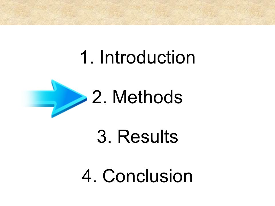 1. Introduction 2. Methods 3. Results 4. Conclusion