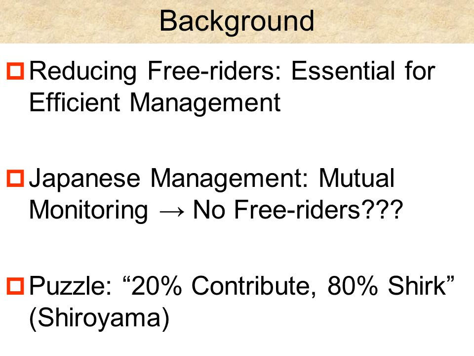 Background  Reducing Free-riders: Essential for Efficient Management  Japanese Management: Mutual Monitoring → No Free-riders .