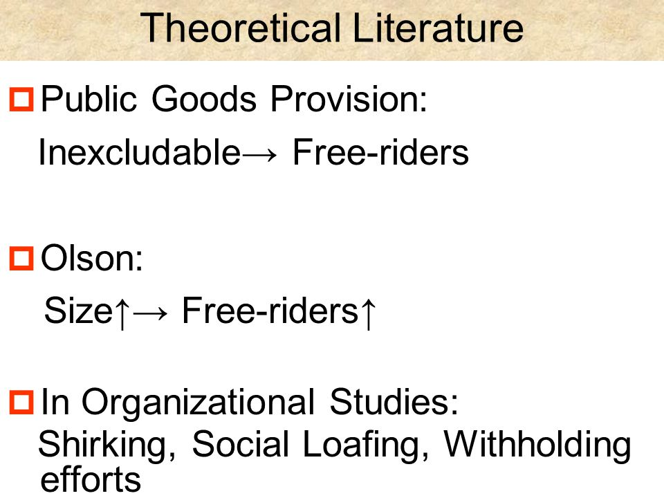 Empirical Literature  George 1992 Monitored, Involved↑→Free-riders↓  Vane Dyne + LePine 1998 In-role/Extra-role Contributions Correlate  Takahashi 1997 Free-riders↑→ Energized↓