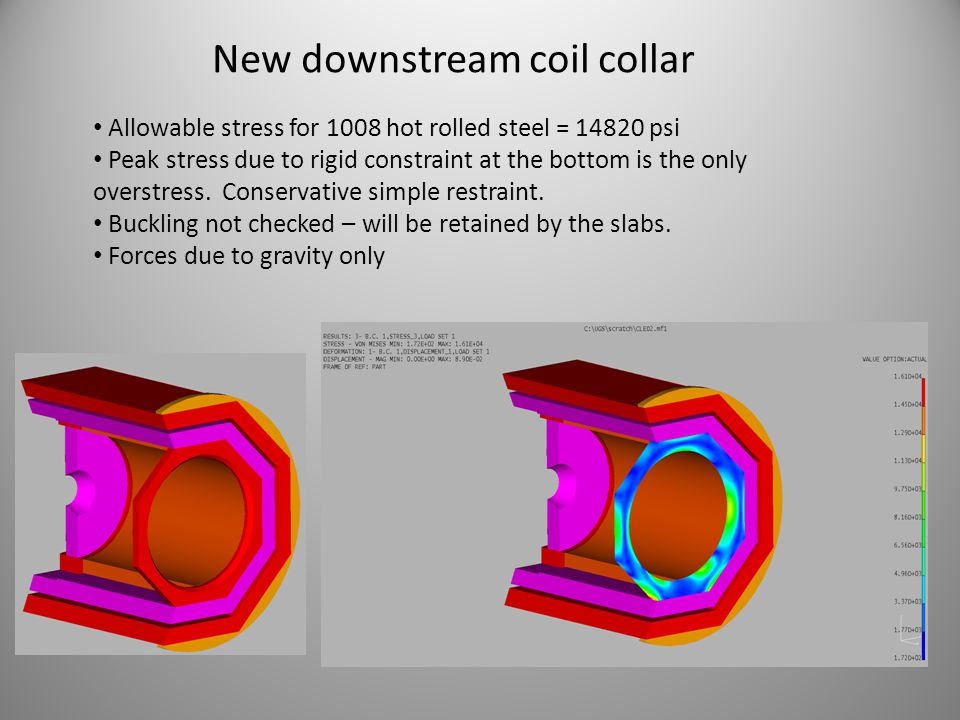 New downstream coil collar Allowable stress for 1008 hot rolled steel = 14820 psi Peak stress due to rigid constraint at the bottom is the only overst