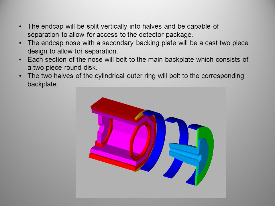 The endcap will be split vertically into halves and be capable of separation to allow for access to the detector package. The endcap nose with a secon
