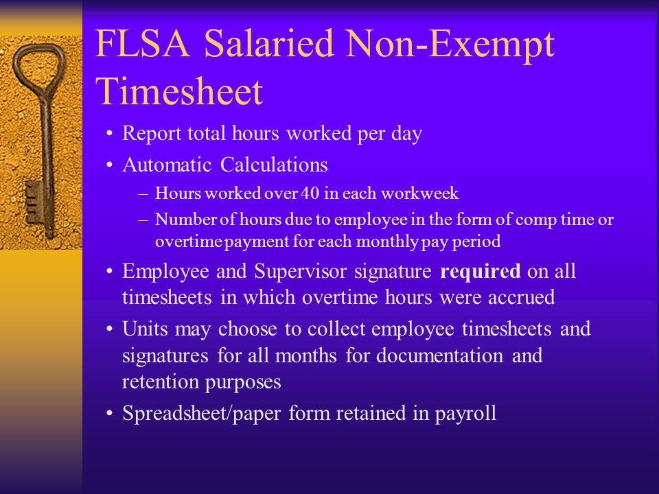 FLSA Salaried Non-Exempt Timesheet Report total hours worked per day Automatic Calculations –Hours worked over 40 in each workweek –Number of hours due to employee in the form of comp time or overtime payment for each monthly pay period Employee and Supervisor signature required on all timesheets in which overtime hours were accrued Units may choose to collect employee timesheets and signatures for all months for documentation and retention purposes Spreadsheet/paper form retained in payroll
