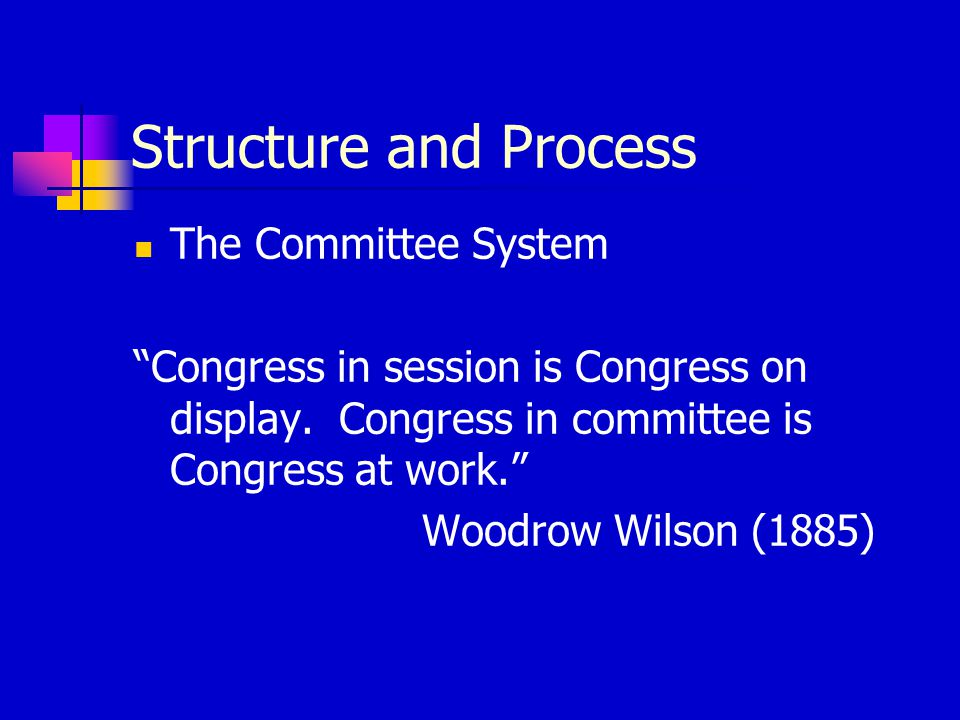 Structure and Process The Committee System Congress in session is Congress on display.