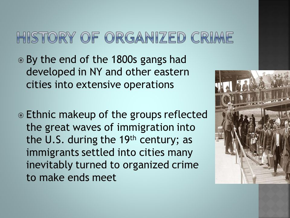  By the end of the 1800s gangs had developed in NY and other eastern cities into extensive operations  Ethnic makeup of the groups reflected the gre