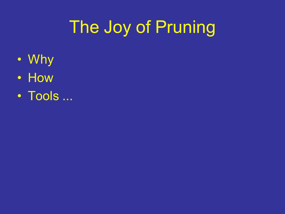 The Joy of Pruning Why How Tools...