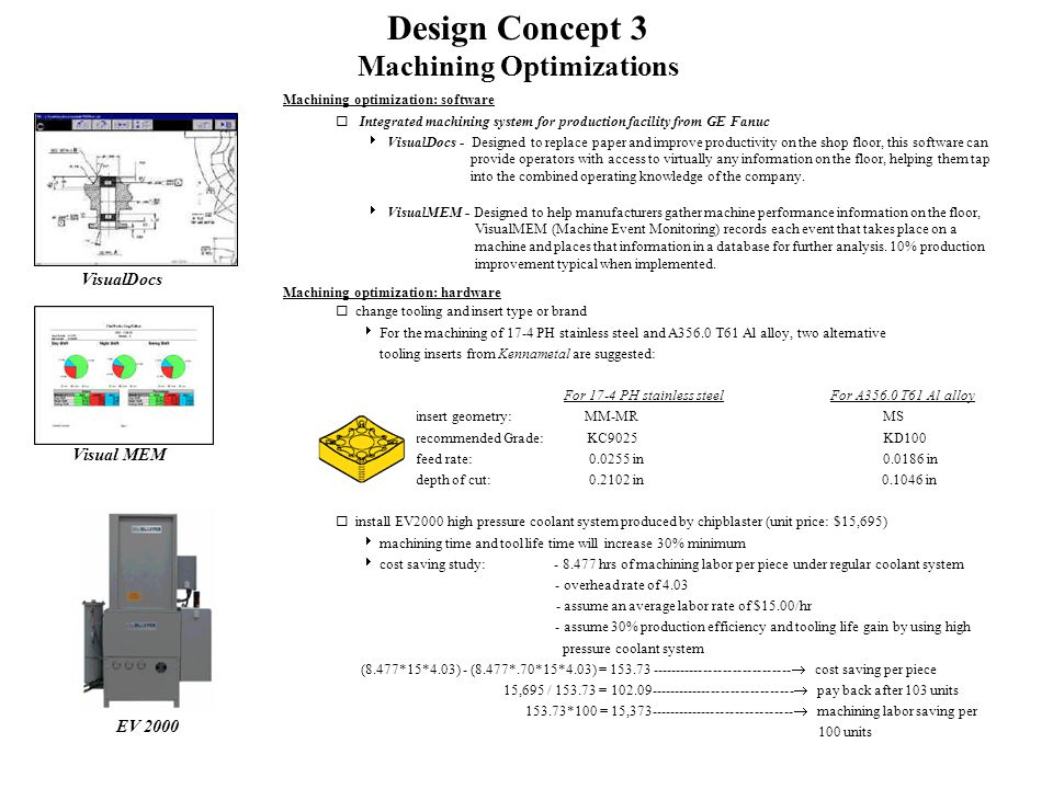 Design Concept 3 Machining Optimizations Machining optimization: software  Integrated machining system for production facility from GE Fanuc  VisualDocs - Designed to replace paper and improve productivity on the shop floor, this software can provide operators with access to virtually any information on the floor, helping them tap into the combined operating knowledge of the company.