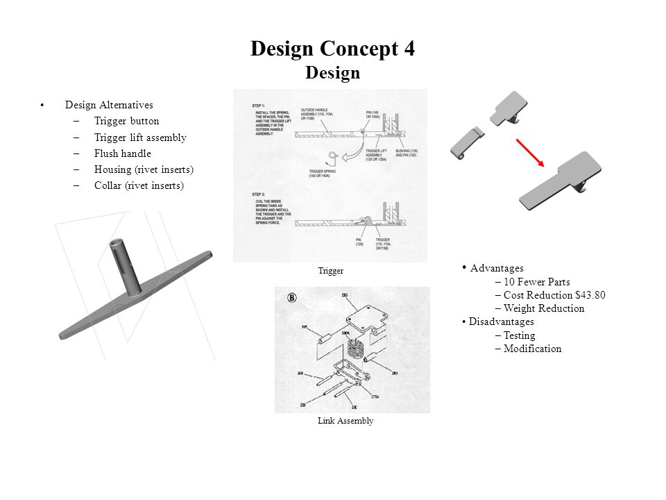 Design Concept 4 Design Design Alternatives –Trigger button –Trigger lift assembly –Flush handle –Housing (rivet inserts) –Collar (rivet inserts) Advantages – 10 Fewer Parts – Cost Reduction $43.80 – Weight Reduction Disadvantages – Testing – Modification Link Assembly Trigger