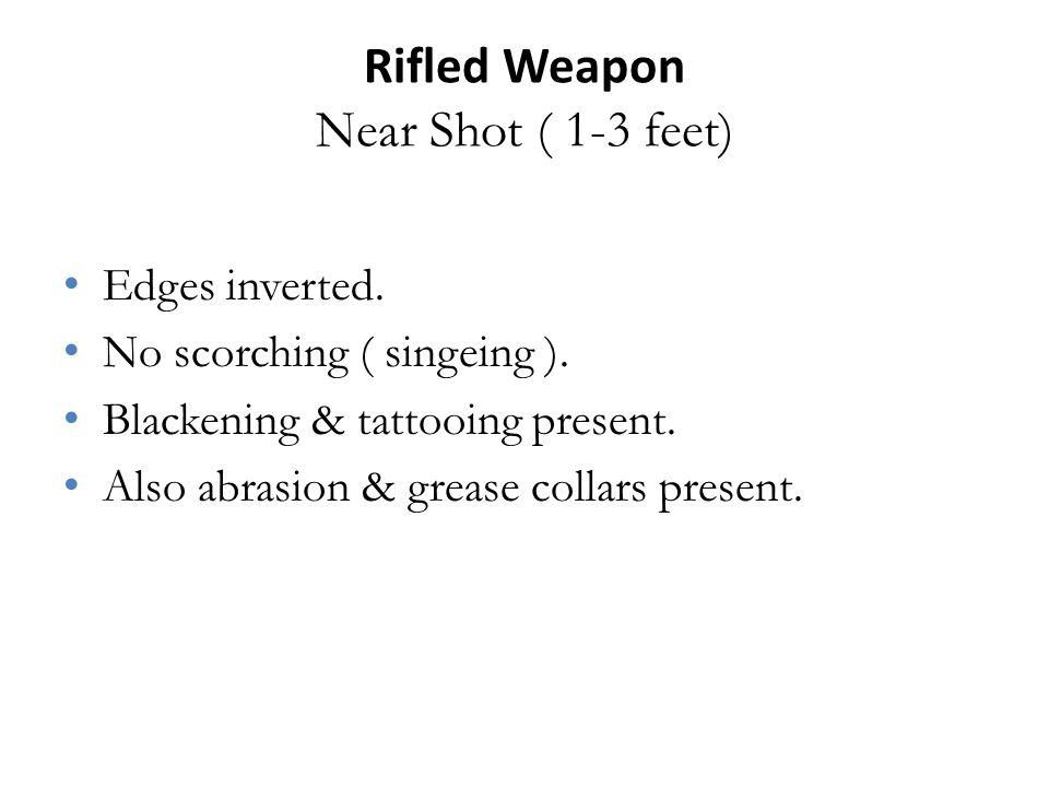 Rifled Weapon Near Shot ( 1-3 feet) Edges inverted.