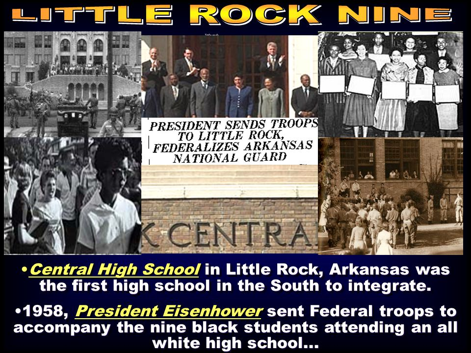 little rock in Little Rock, Arkansas was the first high school in the South to integrate.Central High School in Little Rock, Arkansas was the first high school in the South to integrate.