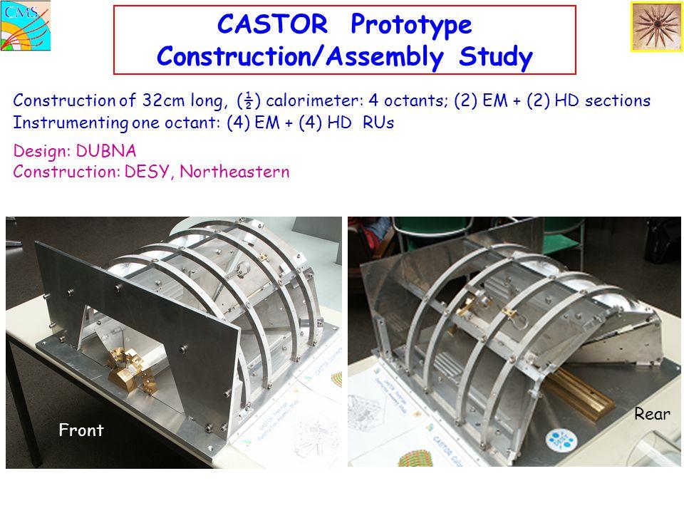 CASTOR Prototype Construction/Assembly Study Design: DUBNA Construction: DESY, Northeastern Construction of 32cm long, (½) calorimeter: 4 octants; (2) EM + (2) HD sections Instrumenting one octant: (4) EM + (4) HD RUs Front Rear