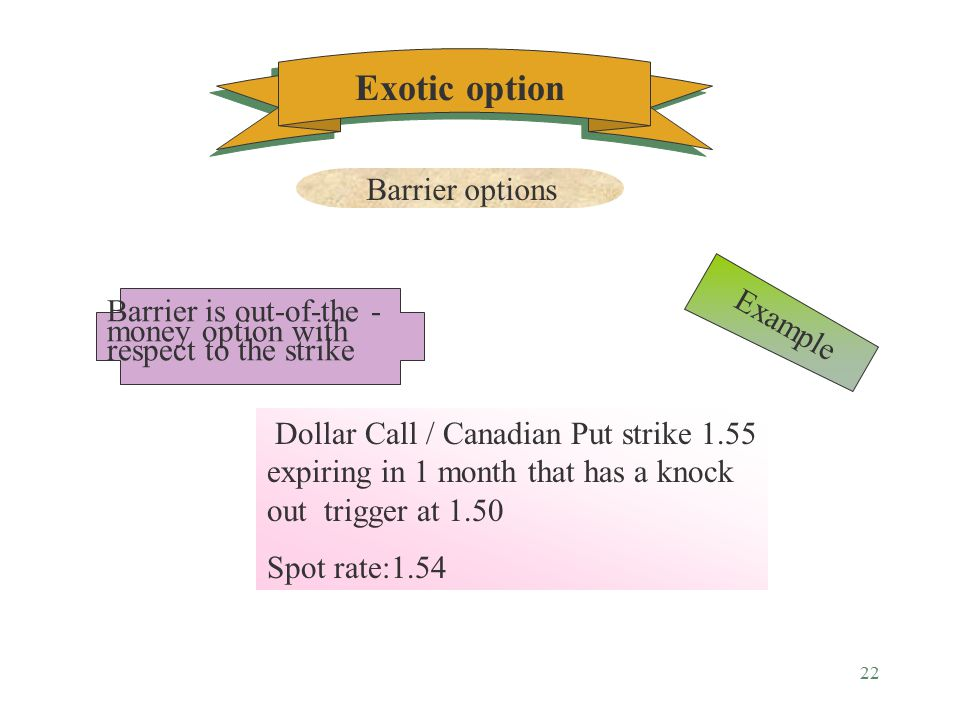 21 Option that have an embedded price level ( barrier ), which if reached will either create a vanilla option or eliminate the existence of a vanilla option Exotic option Barrier options Definition