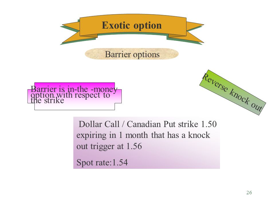 25 Exotic option Barrier options Example TRIGGER payoff 1.55 $ 1.50 1.54