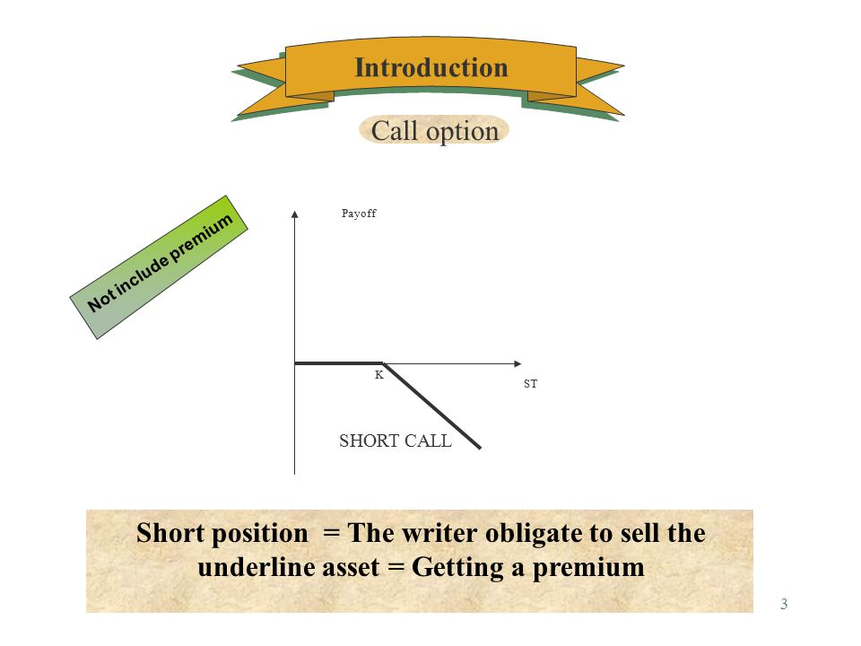2 ST LONG CALL Payoff k Introduction Long position = The holder have the right to purchase the underline asset = Paying a premium Not include premium Call option