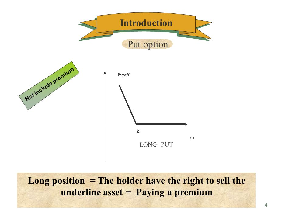 3 K ST Payoff SHORT CALL Short position = The writer obligate to sell the underline asset = Getting a premium Not include premium Call option Introduction