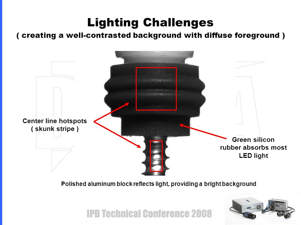 Lighting Challenges ( creating a well-contrasted background with diffuse foreground ) Center line hotspots ( skunk stripe ) Polished aluminum block reflects light, providing a bright background Green silicon rubber absorbs most LED light