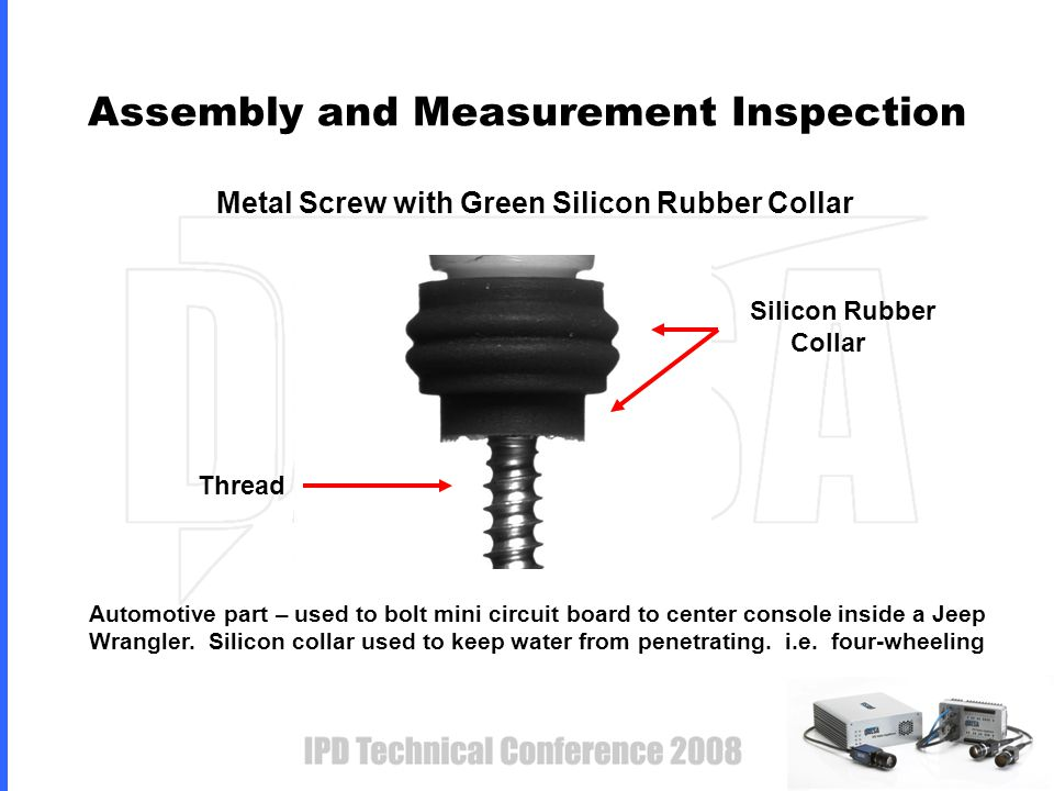 Metal Screw with Green Silicon Rubber Collar Assembly and Measurement Inspection Thread Silicon Rubber Collar Automotive part – used to bolt mini circuit board to center console inside a Jeep Wrangler.