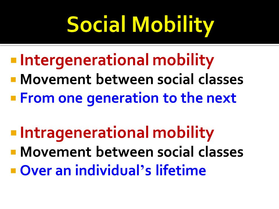  Intergenerational mobility  Movement between social classes  From one generation to the next  Intragenerational mobility  Movement between socia