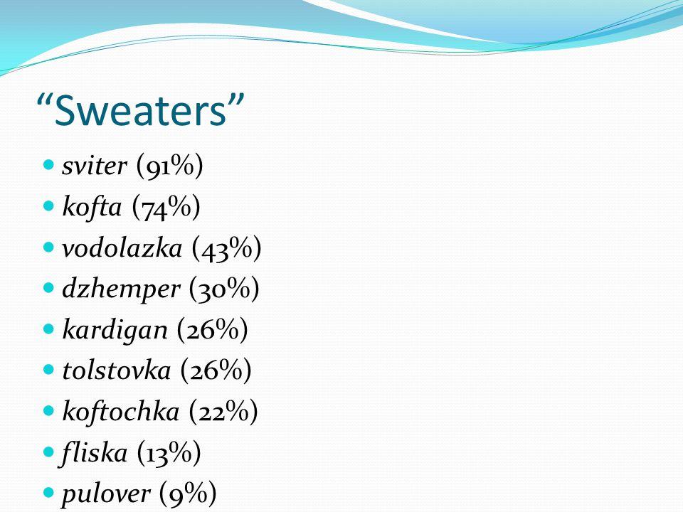 Sweaters sviter (91%) kofta (74%) vodolazka (43%) dzhemper (30%) kardigan (26%) tolstovka (26%) koftochka (22%) fliska (13%) pulover (9%)