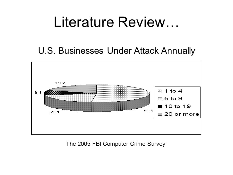 Literature Review… The 2005 FBI Computer Crime Survey U.S. Businesses Under Attack Annually