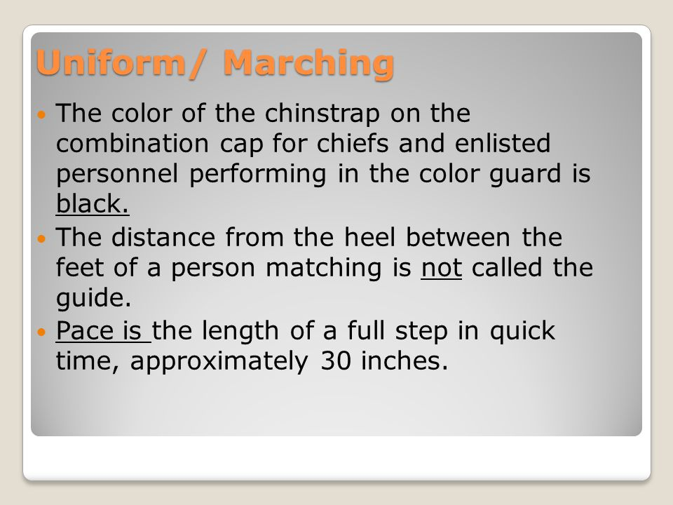 Uniform/ Marching While on official duty wearing a cover INDOORS is required.