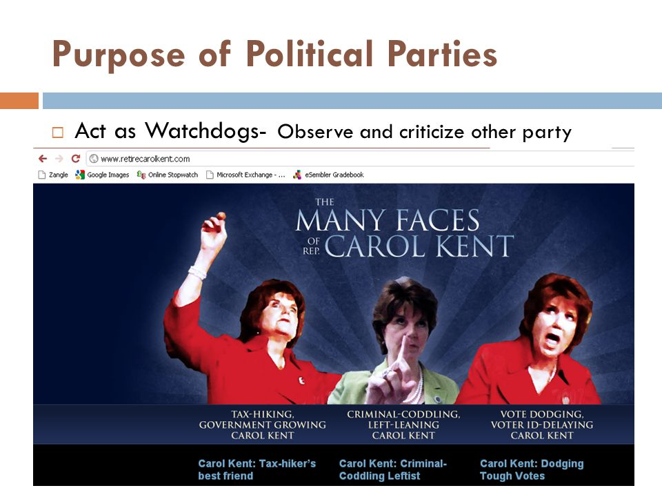 Purpose of Political Parties  Act as Watchdogs- Observe and criticize other party