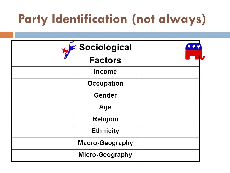 Party Identification (not always) Sociological Factors Income Occupation Gender Age Religion Ethnicity Macro-Geography Micro-Geography