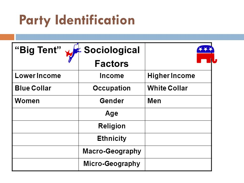 Party Identification Big Tent Sociological Factors Lower IncomeIncomeHigher Income Blue CollarOccupationWhite Collar WomenGenderMen Age Religion Ethnicity Macro-Geography Micro-Geography