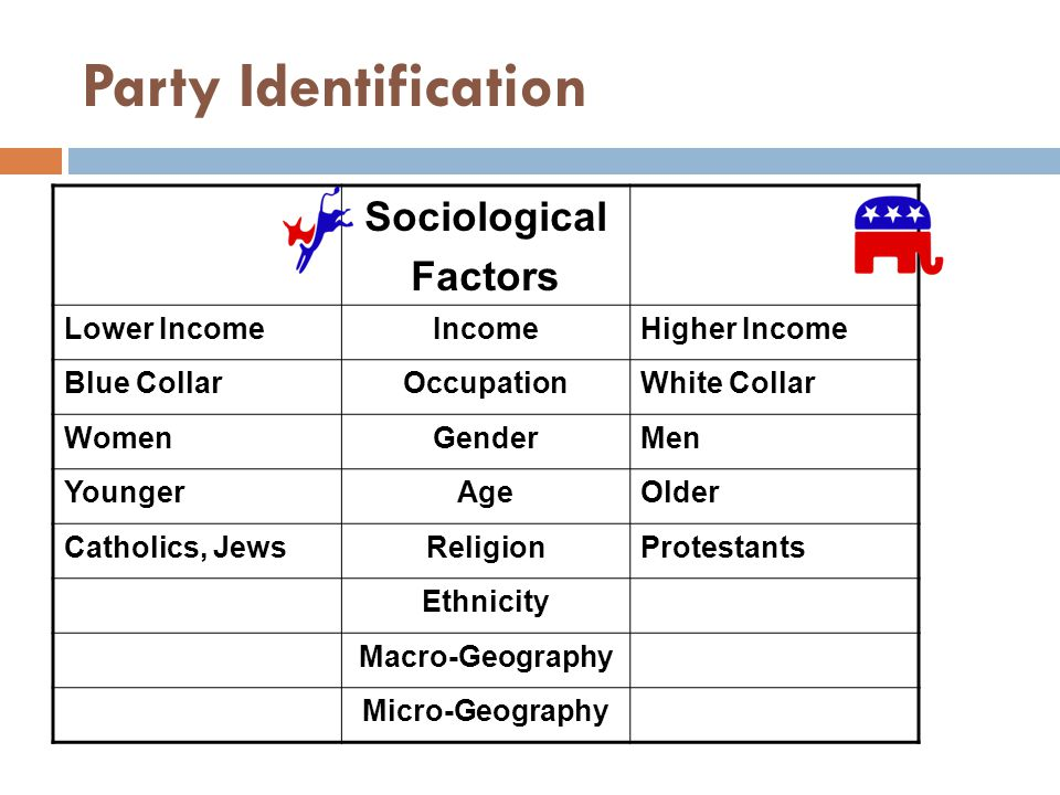 Party Identification Sociological Factors Lower IncomeIncomeHigher Income Blue CollarOccupationWhite Collar WomenGenderMen YoungerAgeOlder Catholics, JewsReligionProtestants Ethnicity Macro-Geography Micro-Geography