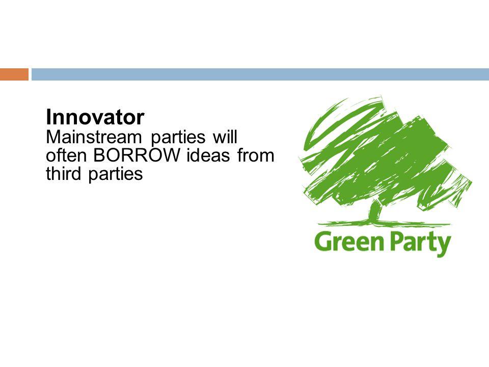 Innovator Mainstream parties will often BORROW ideas from third parties