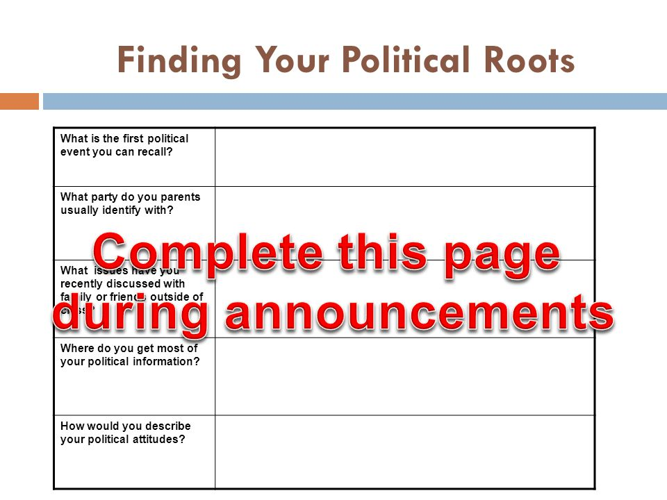 Finding Your Political Roots What is the first political event you can recall.