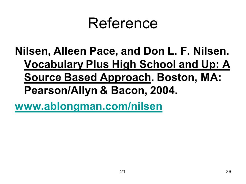2126 Reference Nilsen, Alleen Pace, and Don L. F.