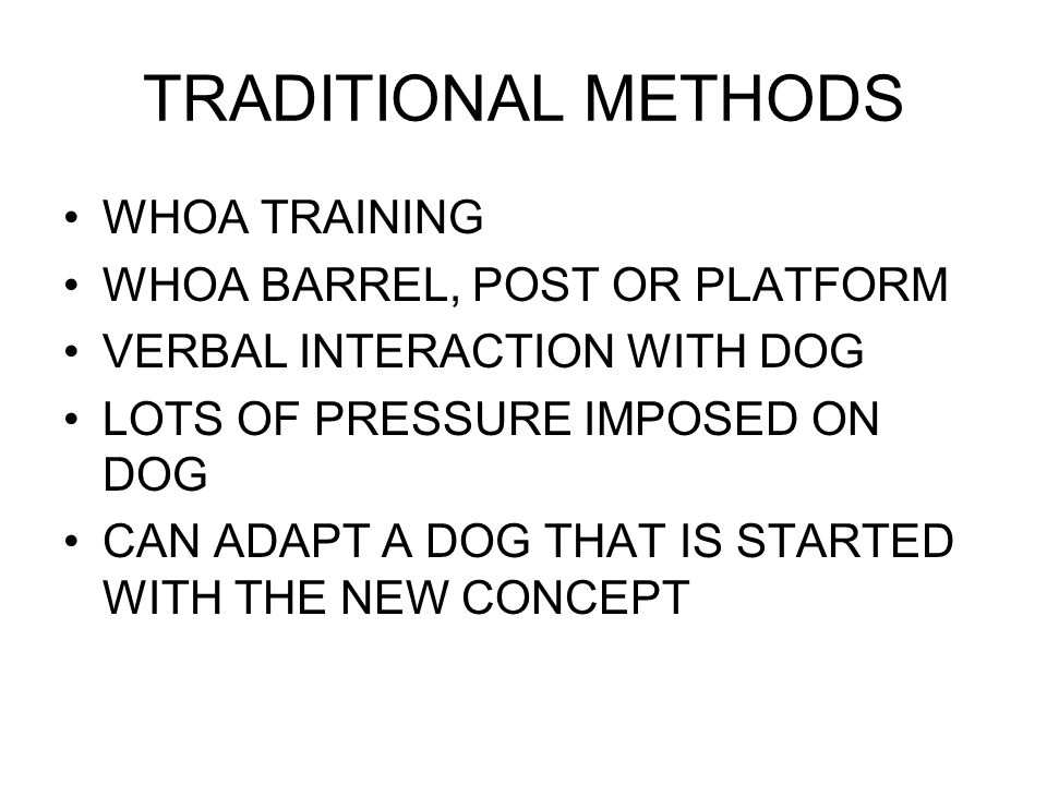 TRADITIONAL METHODS WHOA TRAINING WHOA BARREL, POST OR PLATFORM VERBAL INTERACTION WITH DOG LOTS OF PRESSURE IMPOSED ON DOG CAN ADAPT A DOG THAT IS STARTED WITH THE NEW CONCEPT