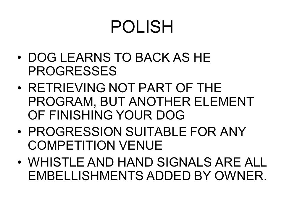 POLISH DOG LEARNS TO BACK AS HE PROGRESSES RETRIEVING NOT PART OF THE PROGRAM, BUT ANOTHER ELEMENT OF FINISHING YOUR DOG PROGRESSION SUITABLE FOR ANY COMPETITION VENUE WHISTLE AND HAND SIGNALS ARE ALL EMBELLISHMENTS ADDED BY OWNER.