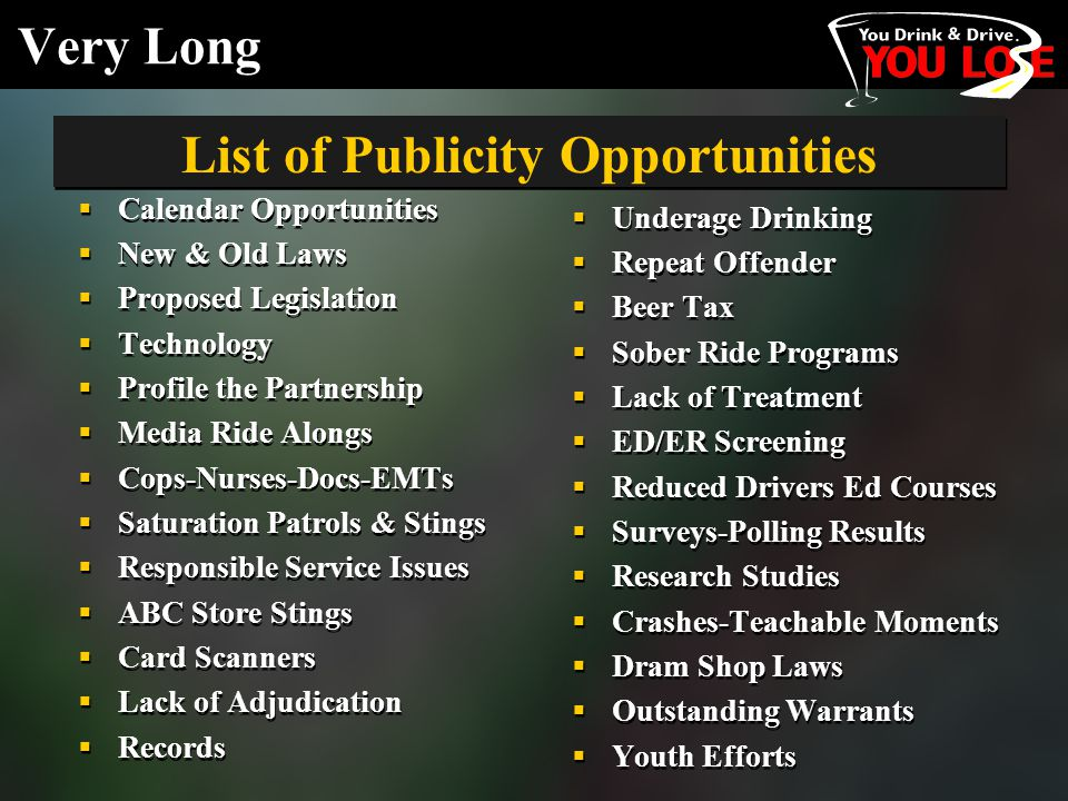 Very Long  Calendar Opportunities  New & Old Laws  Proposed Legislation  Technology  Profile the Partnership  Media Ride Alongs  Cops-Nurses-Docs-EMTs  Saturation Patrols & Stings  Responsible Service Issues  ABC Store Stings  Card Scanners  Lack of Adjudication  Records  Calendar Opportunities  New & Old Laws  Proposed Legislation  Technology  Profile the Partnership  Media Ride Alongs  Cops-Nurses-Docs-EMTs  Saturation Patrols & Stings  Responsible Service Issues  ABC Store Stings  Card Scanners  Lack of Adjudication  Records  Underage Drinking  Repeat Offender  Beer Tax  Sober Ride Programs  Lack of Treatment  ED/ER Screening  Reduced Drivers Ed Courses  Surveys-Polling Results  Research Studies  Crashes-Teachable Moments  Dram Shop Laws  Outstanding Warrants  Youth Efforts List of Publicity Opportunities