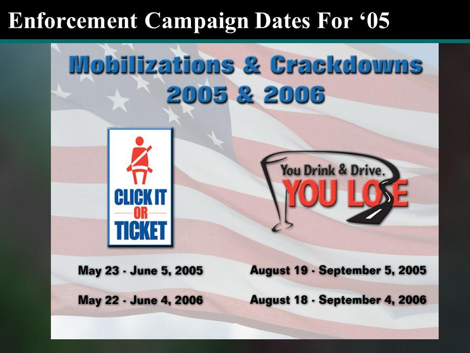 Enforcement Campaign Dates For '05