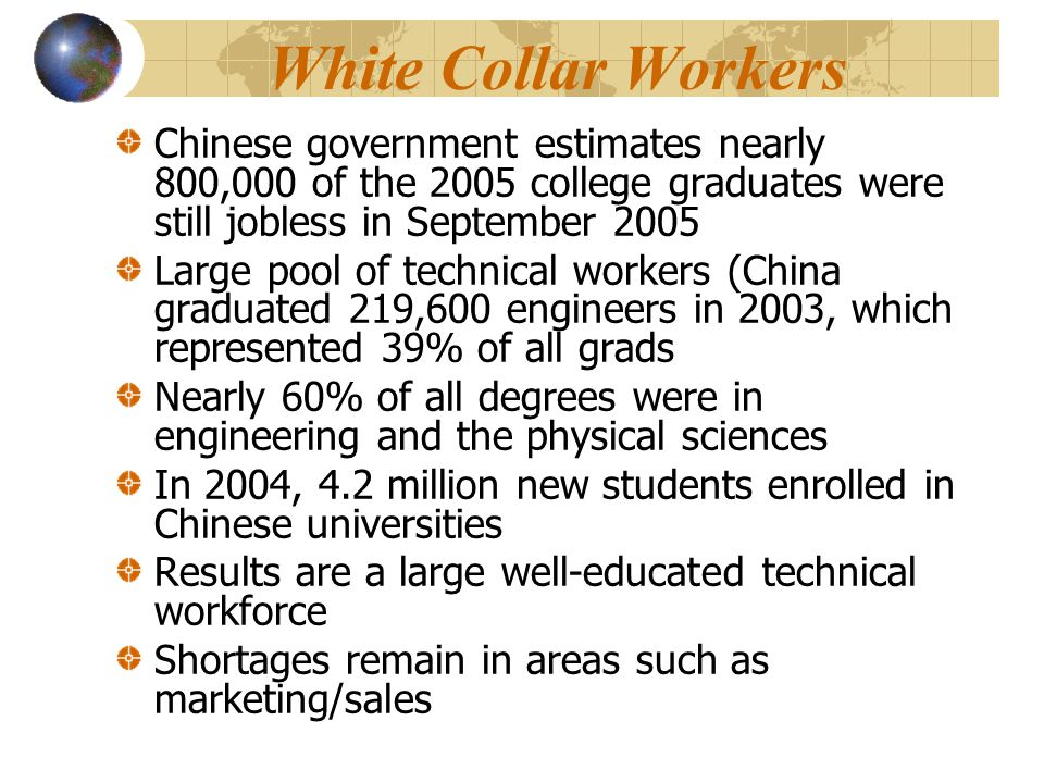 White Collar Workers Chinese government estimates nearly 800,000 of the 2005 college graduates were still jobless in September 2005 Large pool of technical workers (China graduated 219,600 engineers in 2003, which represented 39% of all grads Nearly 60% of all degrees were in engineering and the physical sciences In 2004, 4.2 million new students enrolled in Chinese universities Results are a large well-educated technical workforce Shortages remain in areas such as marketing/sales