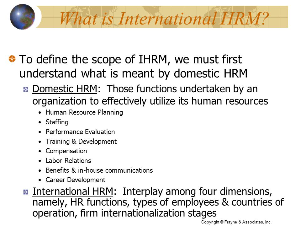 What is International HRM.