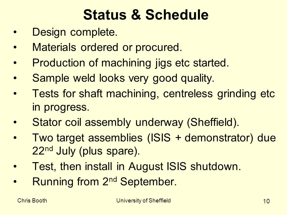 Chris BoothUniversity of Sheffield 10 Status & Schedule Design complete. Materials ordered or procured. Production of machining jigs etc started. Samp