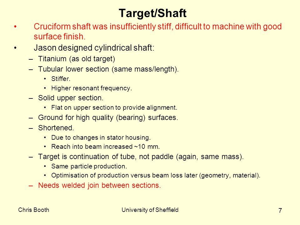 Chris BoothUniversity of Sheffield 7 Target/Shaft Cruciform shaft was insufficiently stiff, difficult to machine with good surface finish. Jason desig