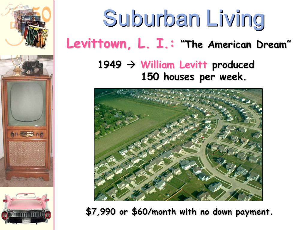 """Growth of the Suburbs Why would people move to the suburbs? –Affordable housing –Improved highways and interstates –Fulfillment of the """"American Dream"""