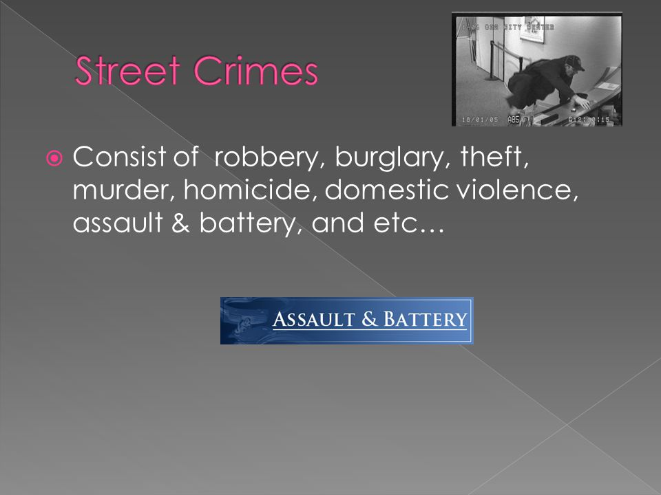  Consist of robbery, burglary, theft, murder, homicide, domestic violence, assault & battery, and etc…